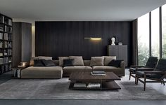 Modular sofa / contemporary / leather / fabric - SOHO by Paolo Piva - Poliform