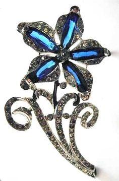 1941 TRIFARI Fur Clip~PHILIPPE~Enamel+TRANSLUCENT Fancy Cut RS~Flower Pin/Brooch