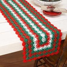 Top your table with a festive runner using a fun two-round crochet stitch. Intermediate crochet kit includes Herrschners Yarn and instructions. Crochet Table Runner Pattern, Crochet Motif Patterns, Christmas Crochet Patterns, Holiday Crochet, Crochet Tablecloth, Crochet Gifts, Crochet Doilies, Crochet Yarn, Crochet Stitches