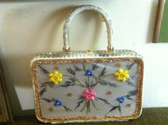 Vntg 1960's WICKER Handbag White WINDOW PURSE Floral Flowers~ Needs cleaning by JewelryFindsandMore on Etsy