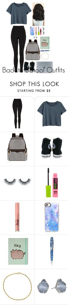 """""""Back to School Outfits #14"""" by gussied-up ❤ liked on Polyvore featuring Topshop, H&M, Henri Bendel, Converse, Maybelline, Too Faced Cosmetics, Casetify, Montegrappa, Kendra Scott and Incase"""