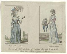 Anonymous | Almanakprentje uit 1789:  Nouveau Recuil de Costumes et Coëffures..., Anonymous, 1789 | Twee kaders met modieuze dameskapsels door Nénot. Links: staande vrouw gekleed in een japon met driekwart mouwen, de rok afgezet met een gerimpelde strook. Op het gekrulde haar een Bonnet a l'Iris. Om de schouders een fichu. Bloemcorsage. Geopend boek in de hand. De vrouw rechts draagt een fichu, caraco en rok afgezet met versierde strook stof. In het gekrulde haar een hoofdband. In de…