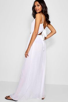 ecdc166d08936 Tall Cut Out Detail Tie Back Maxi Dress - boohoo party dress, white dresses,