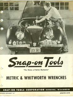 Vintage Snap-On Tools Metric & Whitworth Wrenches Tools Catalog Flyer Leaflet Kenosha Wisconsin by FairOaksAntiques, $12.00