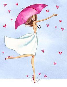 love, picture, illustration, woman, umbrella, hearts