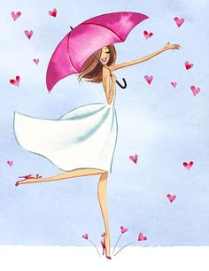 love, picture, illustration, woman, umbrella, hearts