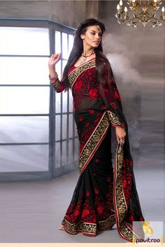 Pavitraa #Black and #Red Dazzling #Party Wear Sarees