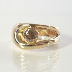 Diamond Engagement Ring 14K Yellow Gold Size by GregDeMarkJewelry