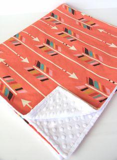 Coral minky baby blanket- rainbow arrows by WilderAndBean on Etsy