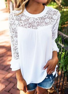 White Round Neck Flare Sleeve Pierced Blouse, check it out.