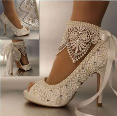 "3""4"" heel satin white ivory lace ribbon ankle open toe Wedding shoes size 5-9.5  #opentoepumpsclassicsplatform"