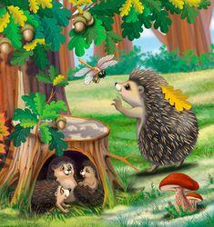 Hedgehog Art, Cute Hedgehog, Fantasy Paintings, Animal Paintings, Animal Drawings, Art Drawings For Kids, Drawing For Kids, Art For Kids, Forest Illustration