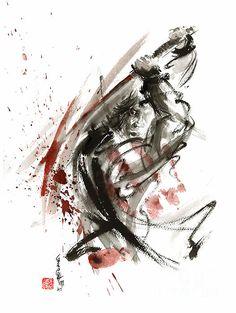 Samurai Ronin Wild Fury Bushi Bushido Martial Arts Sumi-e Original Ink Painting Artwork Painting by Mariusz Szmerdt Ronin Samurai, Samurai Weapons, Samurai Warrior, Ronin Tattoo, Samurai Tattoo, Japanese Artwork, Japanese Painting, Chinese Painting, Bushido