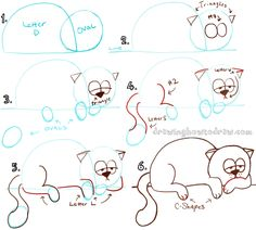 Big Guide to Drawing Cartoon Cats with Basic Shapes for Kids