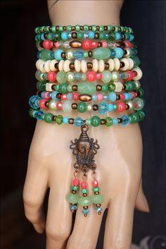 Ten Wrap Gypsy Memory Wire Beaded BraceletBoho ?? monroejewelry