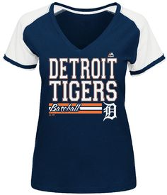 Detroit Tigers Blue Ladies Great Comeback V Neck Tee Shirt by Majestic $27.95