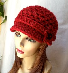 Crochet Womens Hat, Newsboy, Red, Removable Flower, Very Soft Chunky, Warm. Teens, Winter, Ski Hat, Birthday Gifts, Gifts for Her, JE467NBF2...
