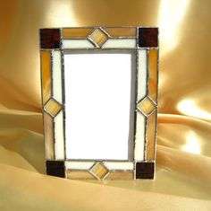November 4 x 6 Stained Glass Picture Frame Stained Glass Frames, Stained Glass Designs, Stained Glass Projects, Stained Glass Patterns, Leaded Glass, Stained Glass Windows, Mosaic Glass, Glass Art, Glass Mirrors