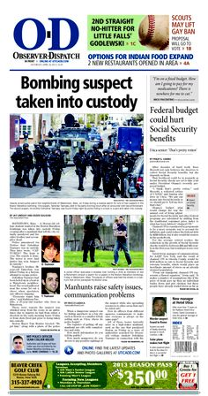 The front page for Saturday, April 20, 2013: Boston bombing suspect taken into custody