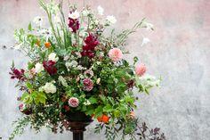 Green and gorgeous large-urn-in-Sept. Garden grown large arrangement