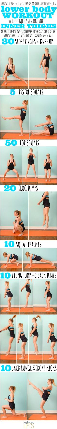 //Lower Body Workout with emphasis on the Inner Thighs. The bodyweight workout that will make you feel strong and accomplished! #health #fitness #motivation