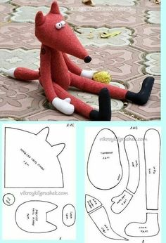 Ideas For Sewing Toys Fox Free Pattern Sewing Patterns Free, Doll Patterns, Free Sewing, Sewing Diy, Sewing Ideas, Sewing For Kids, Diy For Kids, Fabric Animals, Fabric Toys