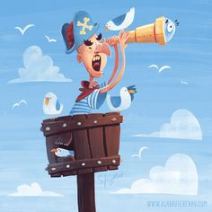 Land ahoy Captain! - Illustrations Illustrations for Kids Portfolio Characters danger fairy tales fantasy kids maritime nature pirates summer wicked - by Simone Krüger
