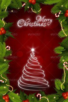 Christmas Greeting Card ...  backdrop, background, branch, bright, brightly, candy, candy cane, card, christmas, christmas tree, color, decoration, fir tree, glowing, grunge, grungy, holiday, illuminated, illustration, mistletoe, new year, shape, shiny, space, sparkle, vector, vibrant