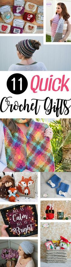 11 Quick Crochet Gift Ideas Roundup for Christmas, holiday, white elephant, birthday, or anniversaries!   ALL free patterns from Sewrella to be whipped up at lightning speed!