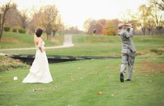 golf course wedding photos, groom & bride, fun photo Eric Floberg Film and Photography