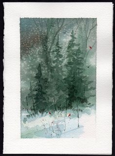Watercolor Christmas Cards | Love these! Card and a Gift :) Hand painted Watercolor Christmas Card ...