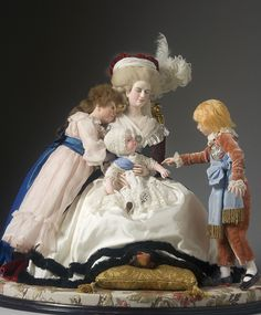Full Length View of Marie Antoinette with children in mixed media, from the Museum of Ventura County collection.