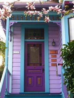 Purple door in a purple porch -- chasingthegreenfaerie