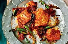 Indian Cuisine - Madras Fish Curry of Snapper, Tomato and Tamarind Recipe by Rick Stein Tamarind Recipes, Curry Recipes, Fish Recipes, Seafood Recipes, Indian Food Recipes, Great Recipes, Ethnic Recipes, Tamarind Rasam, Savoury Recipes