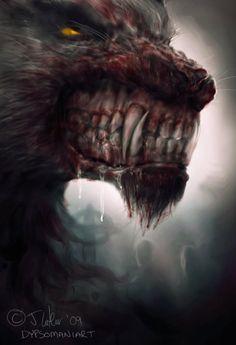 Werewolf Art by Dypsoman Art Dark Fantasy Art, Fantasy World, Dark Art, Arte Horror, Horror Art, Fantasy Creatures, Mythical Creatures, Werewolf Art, Werewolf Teeth