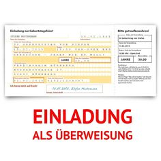 Einladungskarten Zum Geburtstag (30 Stück) Überweisung SEPA Bank Konto  Zahlung Geldsendung