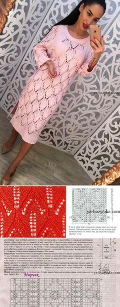 Узор для платья спицами. Нежный узор спицами для вязания женского платья