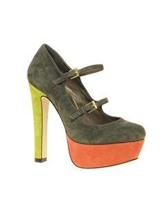 Zapatos altos de ante con plataforma y doble tira Pace de Asos