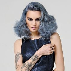 By Mark Mountney #longhair #longbob #hair #hairfashion #fashion #fashionista #bluehair #blue #dipdye #colorful #curly #curlyhair #curlyhairdo #style #trend #longhairdontcare #pelolargo #capellilunghi #hairart #Hairdessing #hairstyle #hairstyles...