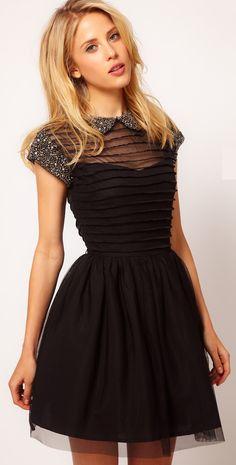 little black dress | Little black dress with cute collar