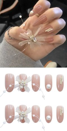 24Pcs/Box Oval Head Fake Nails Pink Butterfly Yarn Decoration Artificial Nails Girly Stuff, Girly Things, Badass Style, Artificial Nails, Pink Butterfly, Pink Nails, Script, Fashion Inspiration, Jewelry Accessories