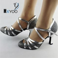 HXYOO Latin Dance Shoes Salsa Shoes Women Ballroom Dancing Shoes Ladies Glitter Silver Comfort  Customized Heels