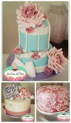 Roses. Bird cage cake