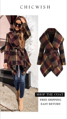 Prairie Check Rabato Coat in Pflaume Best Seller Coats Classy Outfits, Chic Outfits, Fashion Outfits, Unique Fashion, High Fashion, Womens Fashion, Fall Winter Outfits, Autumn Winter Fashion, Stylish Coat
