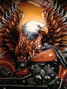 Motorbike/Eagle image printed on100% Black cotton Short Sleeve T-shirt  large