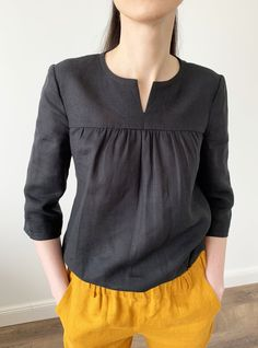 Handmade washed linen blouse with sleeves. Linen Blouse, Wrap Blouse, Shirt Blouses, Shirts, Black Linen, Black Blouse, Shirt Sleeves, Blouse Designs, Blouses For Women