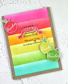 Teach & Inspire Revisited: Teacher Thank You Card by Dawn McVey for Papertrey Ink (August 2015)