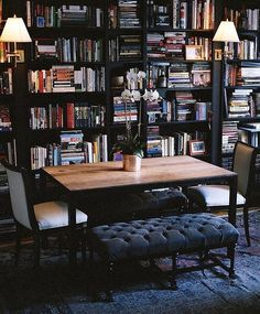 ~ Living a Beautiful Life ~ Library meets dining room. A fantastic multi-purpose space.
