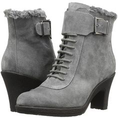 Aerosoles Rufflection (Dark Gray Suede) Women's Lace-up Boots ($149) ❤ liked on Polyvore featuring shoes, boots, mid-calf boots, mid-calf lace up boots, side zip boots, mid calf high heel boots, lace up platform boots and aerosoles boots