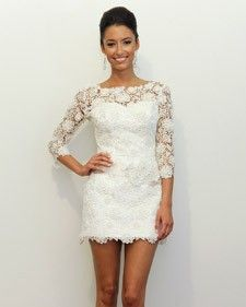 white lace dress. This paired with a pair of brown cowboy boots would be perfect for a nontraditional fall farm wedding.